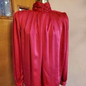 Vintage 80's TESS Red Polyester Blouse